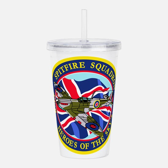 SPITFIRE w.UK flag.png Acrylic Double-wall Tumbler