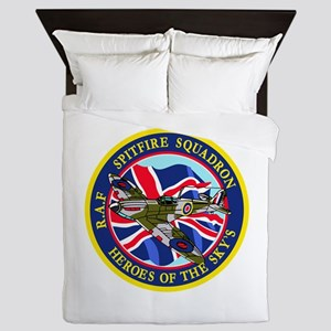 SPITFIRE w.UK flag Queen Duvet