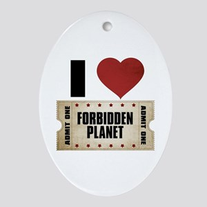 I Heart Forbidden Planet Ticket Oval Ornament