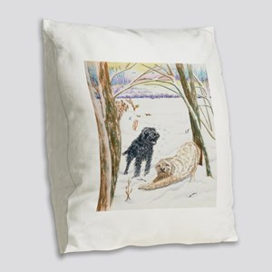 Snow Doodles Burlap Throw Pillow