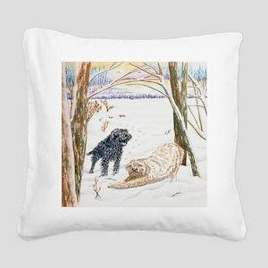 Snow Doodles Square Canvas Pillow