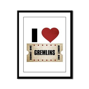 I Heart Gremlins Ticket Framed Panel Print