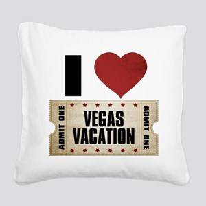 I Heart Vegas Vacation Ticket Square Canvas Pillow
