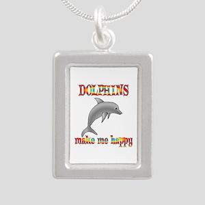 Dolphins Make Me Happy Silver Portrait Necklace