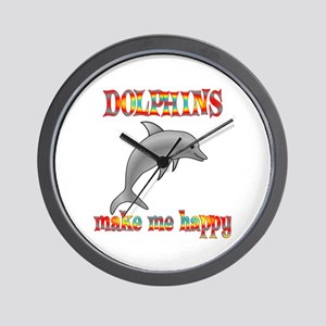 Dolphins Make Me Happy Wall Clock