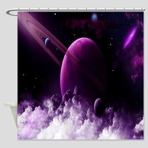 Purple Saturn Shower Curtain