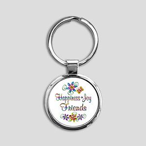 Happiness Joy Friends Round Keychain