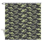 Leaping Borzoi Shower Curtain Sage