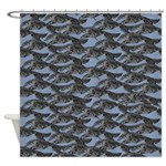 Leaping Borzoi Shower Curtain Blue