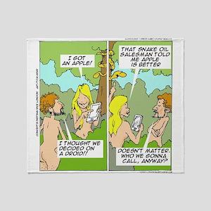 Adam & Eve & Phone Throw Blanket