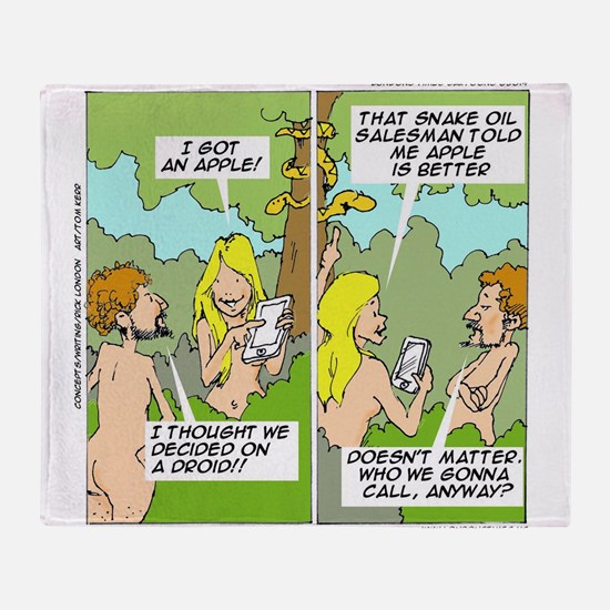 Adam & Eve & Phone Throw Blanket