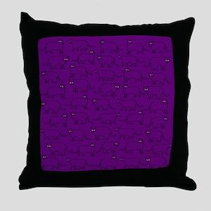 Purple kitty pattern Throw Pillow