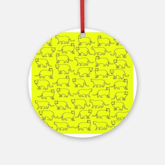 Yelow kitty pattern Ornament (Round)