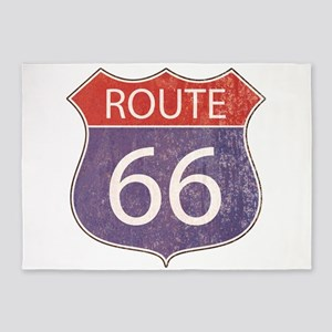 Route 66 Road Sign 5'x7'Area Rug
