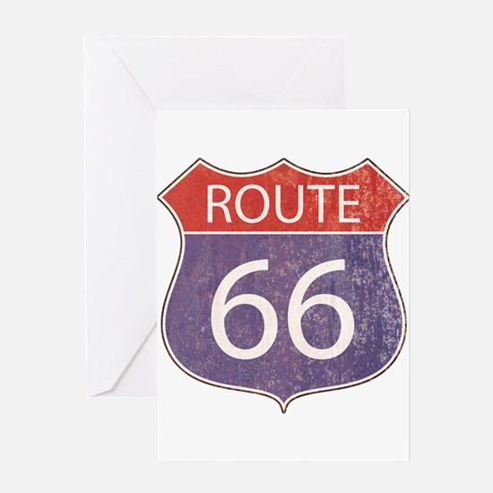 Route 66 Road Sign Greeting Cards