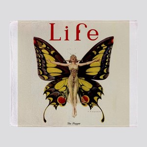 Vintage Life Flapper Butterfly Woman Throw Blanket