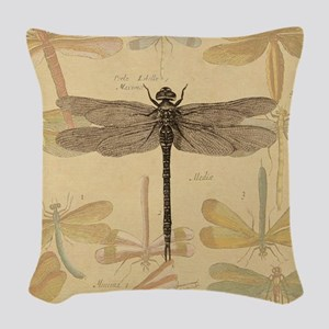 Dragonfly Vintage colorful insect Woven Throw Pill