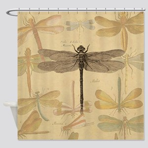 Dragonfly Vintage colorful insect Shower Curtain
