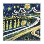 Starry Night Bridge Tile Coaster