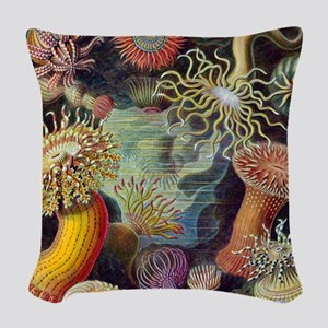 Vintage sea anemones illustration Woven Throw Pill