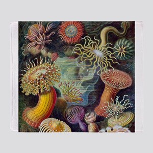 Vintage sea anemones illustration Throw Blanket