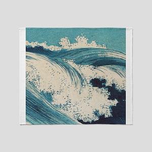 Vintage Waves Japanese Woodcut Ocean Throw Blanket