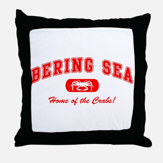 Bering Sea Home of the Crabs! Red Throw Pillow
