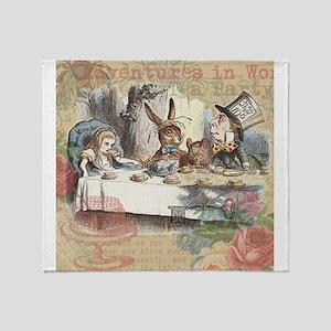 Mad Tea Party Alice in Wonderland Throw Blanket
