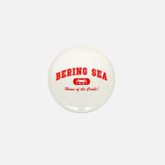 Bering Sea Home of the Crabs! Red Mini Button