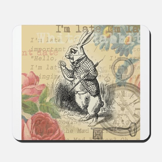 White Rabbit from Alice in Wonderland Mousepad