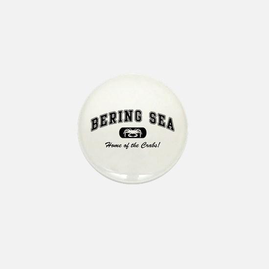 Bering Sea Home of the Crabs! Black Mini Button