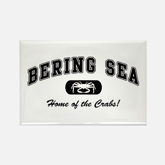 Bering Sea Home of the Crabs! Black Rectangle Magn