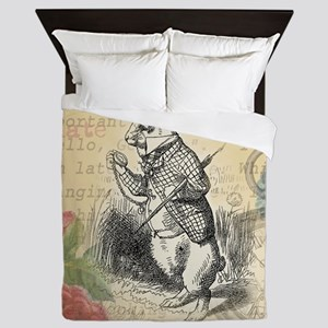 White Rabbit from Alice in Wonderland Queen Duvet