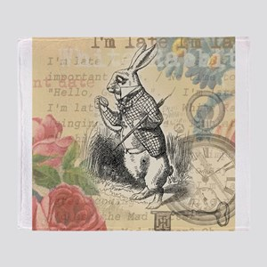 White Rabbit from Alice in Wonderland Throw Blanke