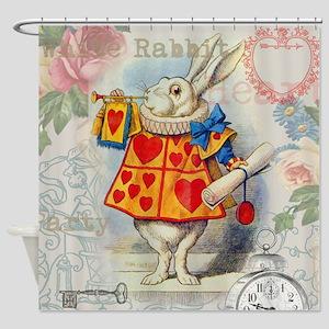 White Rabbit Alice in Wonderland Shower Curtain