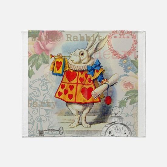 White Rabbit Alice in Wonderland Throw Blanket