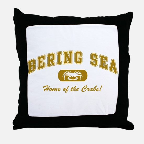 Bering Sea Home of the Crabs! Gold Throw Pillow