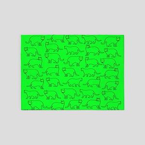 Green kitty pattern 5'x7'Area Rug