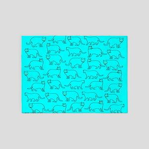 Blue kitty pattern 5'x7'Area Rug
