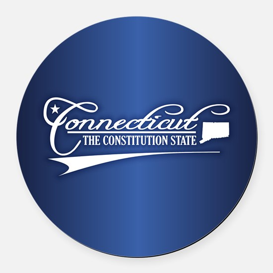 Connecticut State of Mine Round Car Magnet
