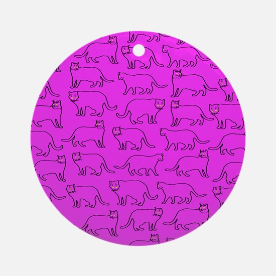 Pink cat pattern Ornament (Round)