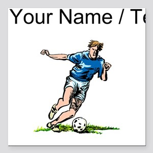 "Custom Soccer Player Square Car Magnet 3"" x 3"""