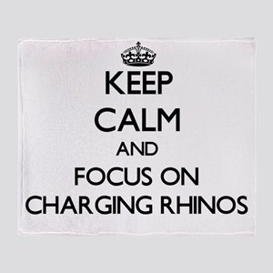 Keep Calm by focusing on Charging Rh Throw Blanket