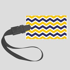 Nautical Chevron Yellow Large Luggage Tag