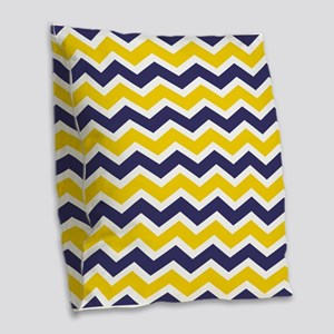 Nautical Chevron Yellow Burlap Throw Pillow