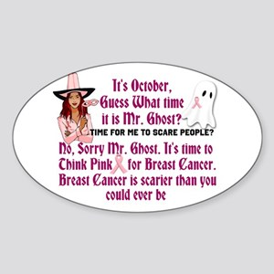 Breast Cancer is Scary Sticker (Oval)