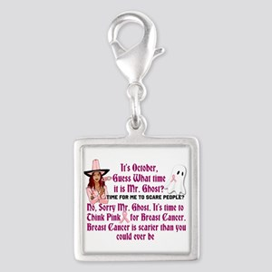 Breast Cancer is Scary Silver Square Charm