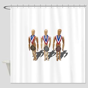 WearingGoldSilverBronzeMedals122410 Shower Curtain