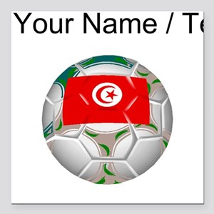 "Custom Tunisia Soccer Ball Square Car Magnet 3"" x"