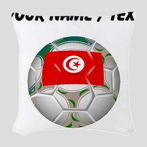 Custom Tunisia Soccer Ball Woven Throw Pillow